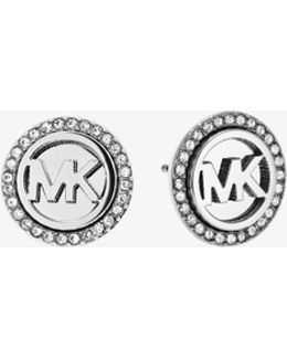 Logo Button Silver-tone Earrings
