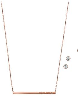 Bar Pendant Necklace And Stud Earrings Set