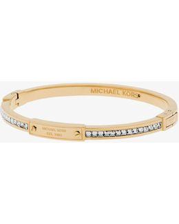 Gold-tone Baguette Hinge Logo Bracelet