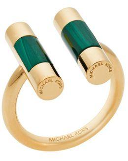 Gold-tone Malachite Split Barrel Ring