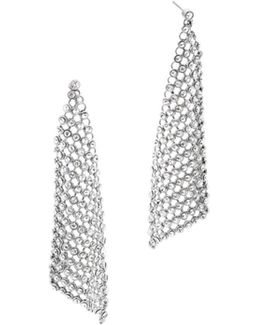 Crystal Silver-tone Chain-mesh Earrings