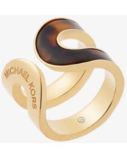 Gold-tone Alabaster Acetate Ring