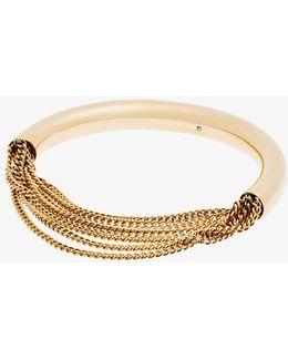 Pave And Draped Chain Goldtone Bangle Bracelet