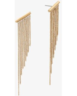 Gold-tone Chain Fringe Earrings