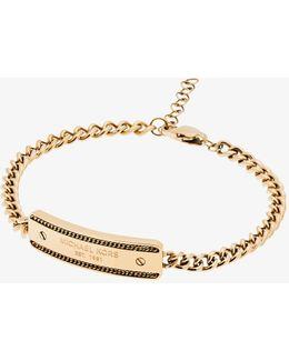 Gold-tone Plaque Chain Bracelet