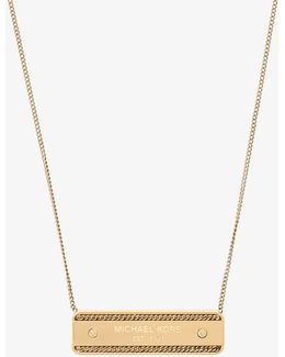 Gold-tone Logo Plaque Necklace