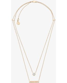 Gold-tone Double-strand Pendant Necklace