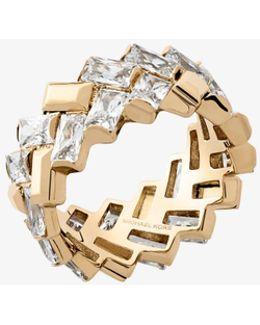 Gold-tone Baguette Chevron Ring