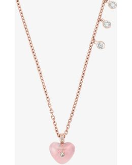 Rose Gold-tone Heart Pendant Necklace