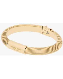 Gold-tone Ribbed Hinge Bracelet
