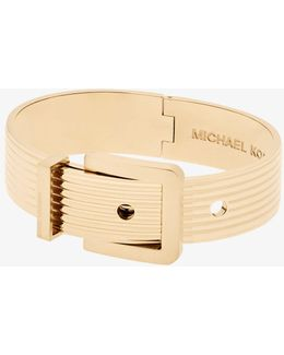 Gold-tone Ribbed Buckle Bracelet
