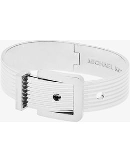 Silver-tone Ribbed Buckle Bracelet