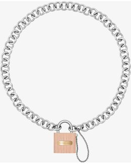 Tri-tone Chain-link Padlock Pendant Necklace