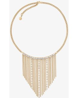 Gold-tone Baguette Fringe Necklace