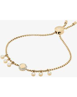 Crystal Gold-tone Logo Slider Bracelet