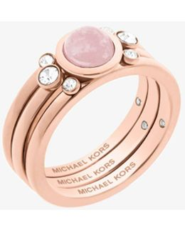 Rose Gold-tone Genuine Rose Quartz Ring