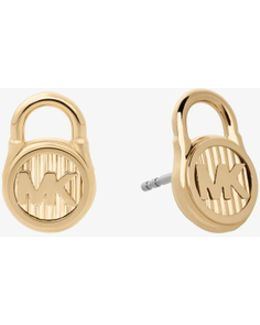Gold-tone Logo Lock Stud Earrings