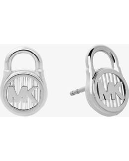 Silver-tone Logo Lock Stud Earrings