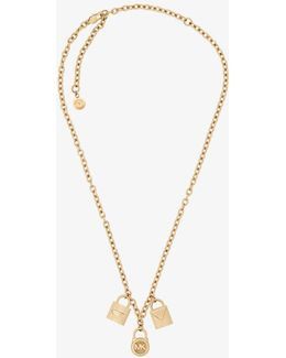 Gold-tone Padlock Charm Necklace