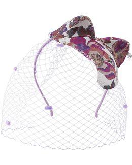 Mika Veil, Floral Fabric Headband With Cat Ears And Veil