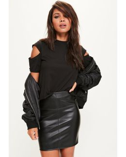 Tall Faux Leather Mini Skirt Black
