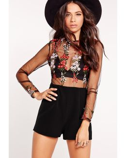 Embroidered Long Sleeve Playsuit Black