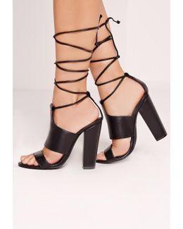 Tie Ankle Strap Block Heels Black