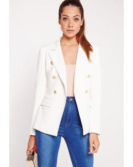 Military Style Blazer White