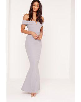Crepe Bardot V Plunge Maxi Dress Grey