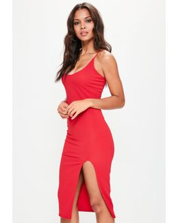 Red Strappy Scoop Neck Midi Dress
