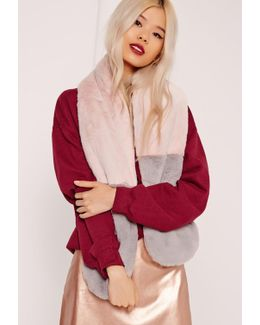 Pink & Grey Contrast Faux Fur Scarf