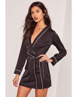 Silky Plunge Pocket Detail Shirt Dress Black