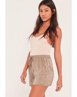 Nude Lace Hem Hammered Satin Shorts