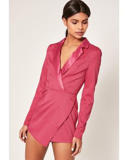 Pink Crepe Tailored Asymmetric Playsuit