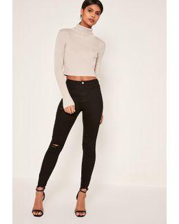 Black Sinner Highwaisted Destroyed Hem Skinny Jeans