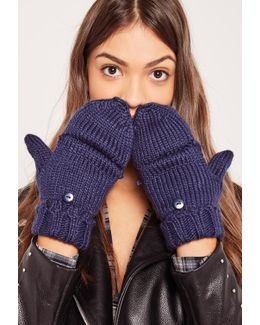 Navy Knitted Mittens