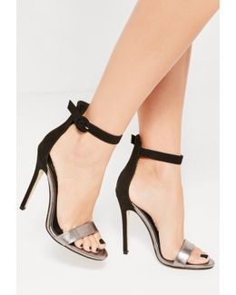 Black Metallic Faux Suede Barely There Heels