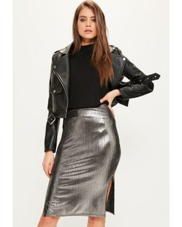 Silver Metallic Split Side Midi Skirt