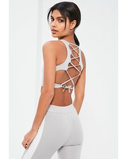 Active Grey Cross Back Detail Sports Crop Top
