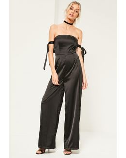 Black Satin Bardot Tie Sleeve Jumpsuit