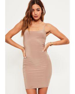 Nude Slinky Strappy Mini Dress