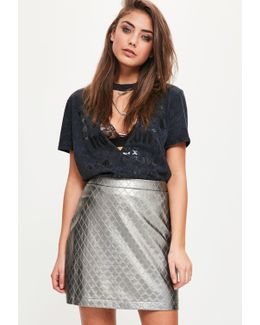 Silver Faux Leather Quilted A-line Skirt