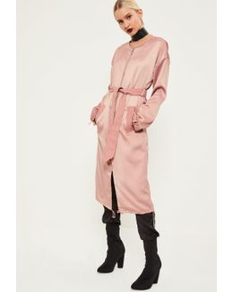 Pink Utility Silky Duster Coat