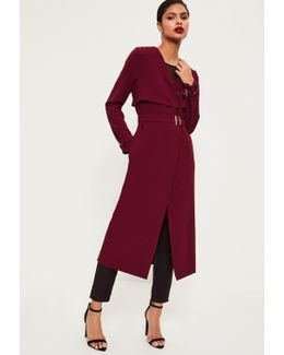 Burgundy Crepe Maxi Belted Duster Coat