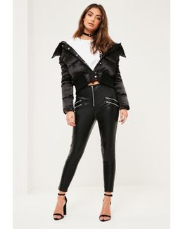 Petite Exclusive Black Faux Leather Zip Detail Trousers