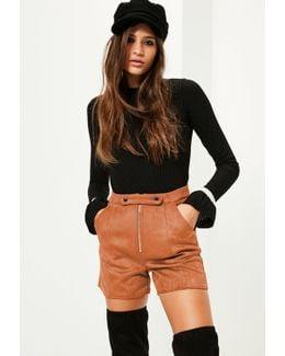 Tan Double Button Front Bonded Faux Suede Shorts