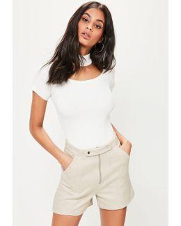 White Double Button Front Faux Suede Shorts