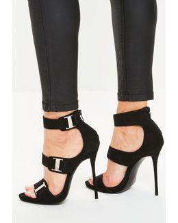 Black Metal Trim Multi Strap Heeled Sandals