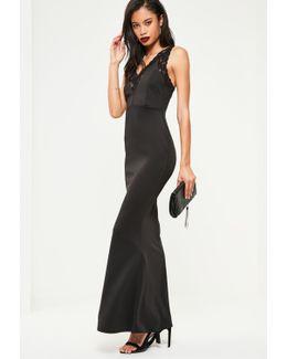 Black Under Bodice Lace Maxi Dress
