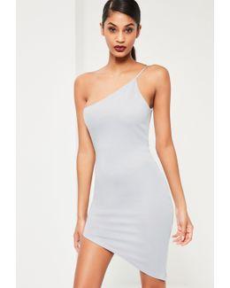 Grey One Shoulder Bodycon Asymmetric Dress